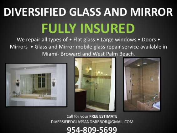 Broward:.window reglaze, glass repair, mirror repair & removal, showers