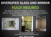 Broward:.window reglaze, glass repair, mirror repair & removal, showers