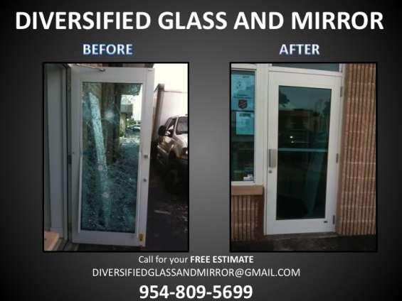 Broward:.broken glass & mirror repair & removal. broken window repair & install