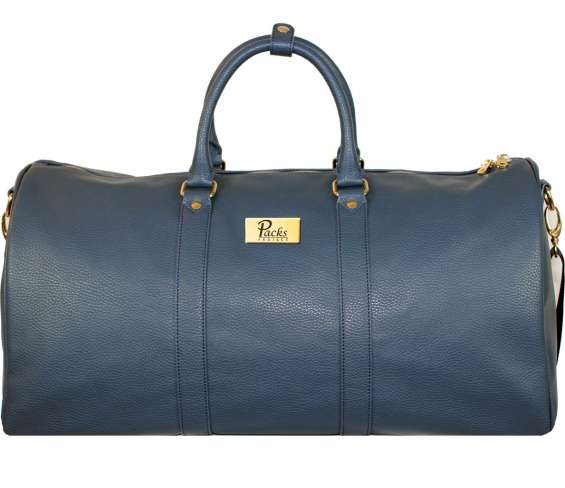 Blue and gold duffle bag
