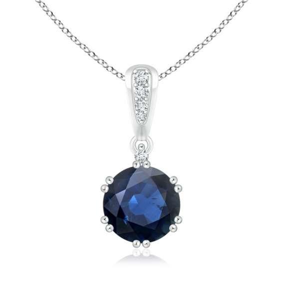 Blue sapphire and diamond solitaire pendant